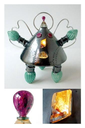 Sculpture contemporaine avec des pierres précieuses