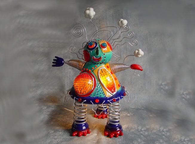Sculpture contemporaine céramique et verre