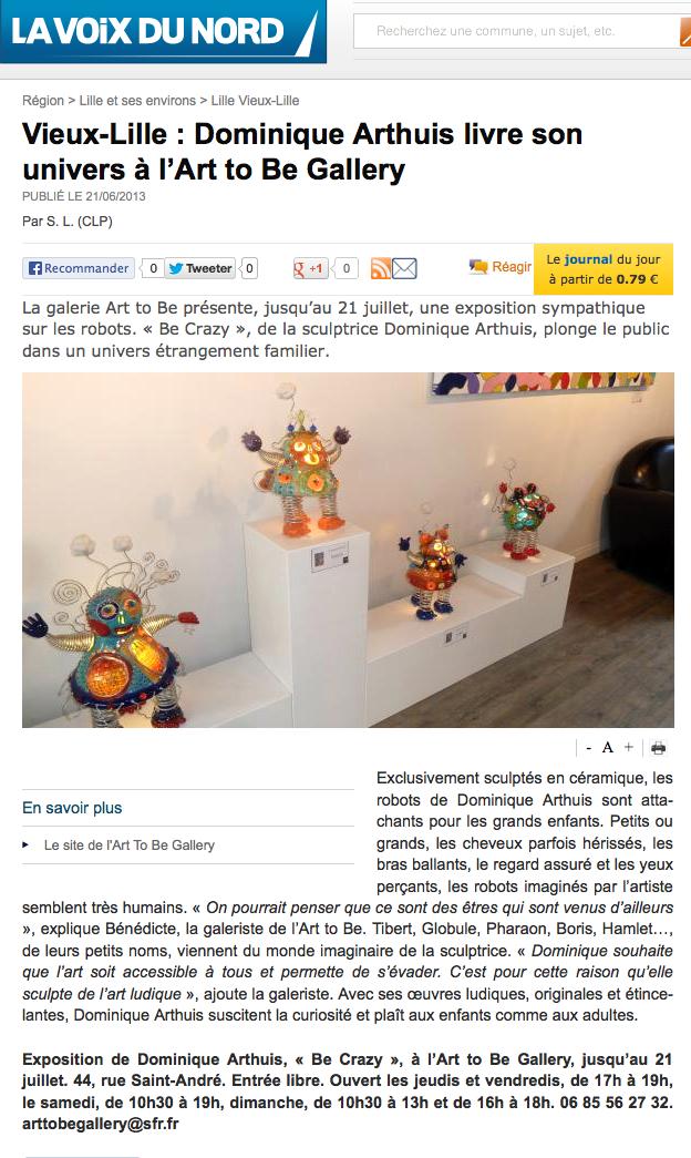 article de presse art to be Gallery La Voix du Nord